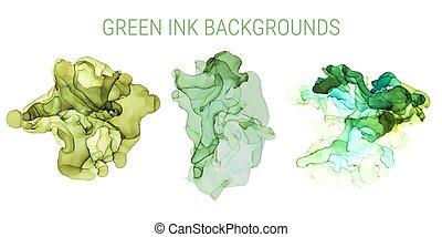 Green shades ink background, wet ink, hand drawn
