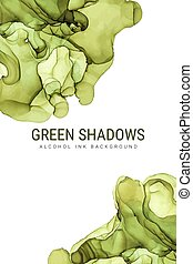 Green shades ink background, wet ink vector