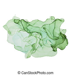 Green shades watercolor background, wet liquid