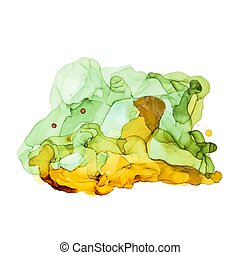 Green shades watercolor background, wet liquid ink