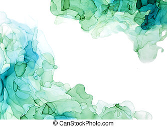 Green shades watercolor background, wet liquid inks