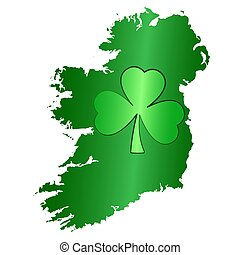 Green shamrock symbol and Ireland silhouette on white background