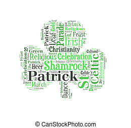 Green shamrock word cloud on white background