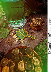 Green shamrocks clovers