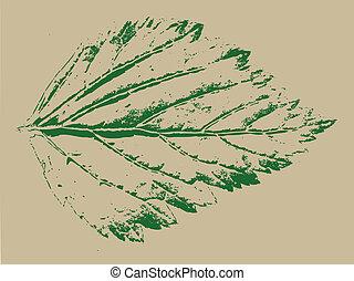 green sheet on grunge background, vector illustration
