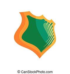 Green shield icon, cartoon style