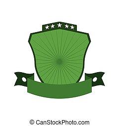 Green shield icon. Label concept. Vector graphic