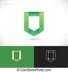 Green shield logo design set.