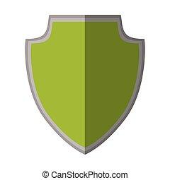 green shield protection decorative heraldic shadow
