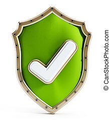 Green shield with tick icon