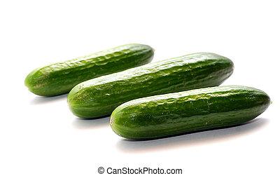 Three green shine cucumbers