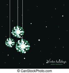 Green shine holidays balls with stars background.
