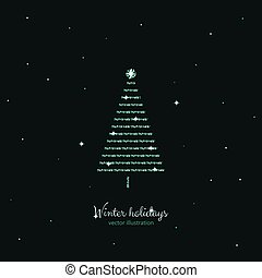 Green shine holidays tree with stars background.
