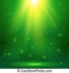 Green shining magic vector light background