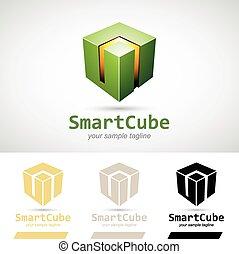 Green Shiny 3d Cube Logo Icon