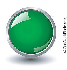 green shiny ball, button sign