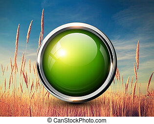 Green shiny button background