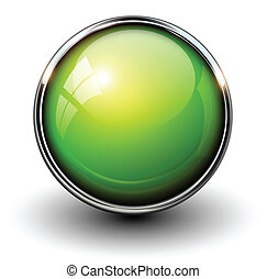 Green shiny button with metallic elements, vector design for...