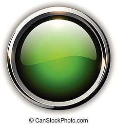 Green shiny button with metallic elements, design for website.