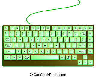 green shiny keyboard against white background, abstract art illustration