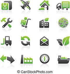 Green shipping icons - Set of 16 environmental green ...