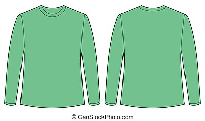 Green shirt - Front and back view of long sleeves shirt