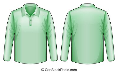 Green shirt - long sleeves shirt with front and back view
