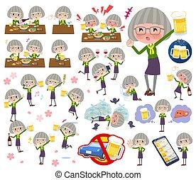green shirt old women_alcohol - A set of senior women...
