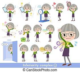green shirt old women_complex - A set of senior women on...