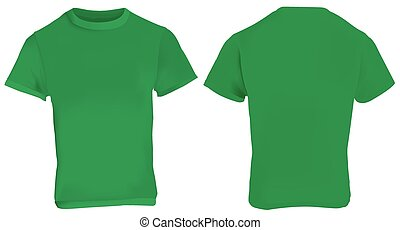 Green Shirt Template - Vector illustration of blank green...
