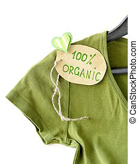green shirt with organic label