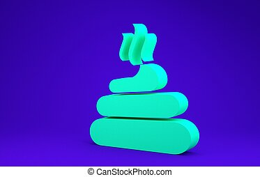 Green Shit icon isolated on blue background. Minimalism concept. 3d illustration 3D render