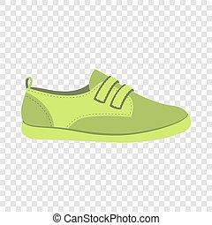 Green shoe icon, flat style