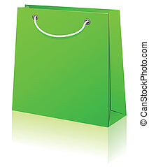 Green shopping bag. - Vector illustration of paper shopping...