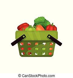 Green shopping basket full of natural vegetables. Fresh and healthy food. Flat vector illustration