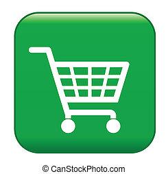 Green shopping basket sign, ecological shopping