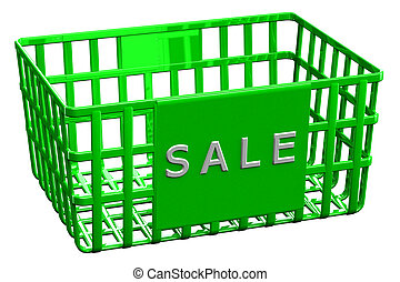 Green shopping basket with word sale