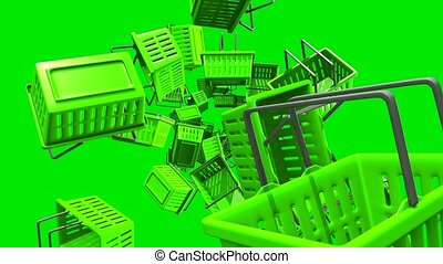 Green Shopping baskets on green background. Loop able 3D...