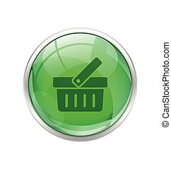 Green shopping cart button