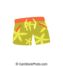 Green shorts for swimming cartoon vector Illustration on a...