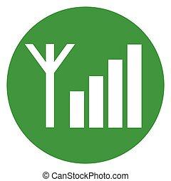 green signal bars circle icon - Illustration of green signal...