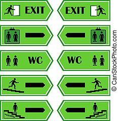 Green signs direction to the exit