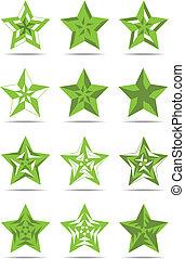 Green signs stars