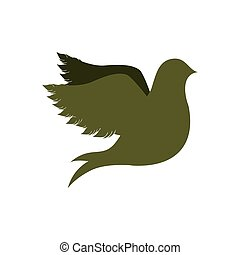 green silhouette fly bird icon flat