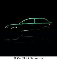 Green silhouette of a car coupe on a black background