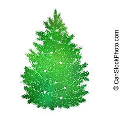 Green silhouette of Christmas tree