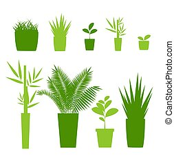Green Silhouette or Contour Houseplant Pot Set. Vector