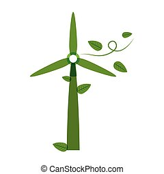 green silhouette wind power generator with leaves vector...
