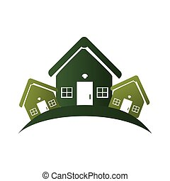 green silhouette with group of houses