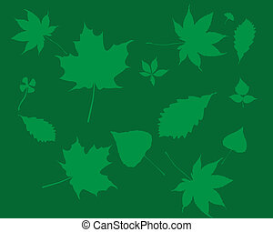 Green silhouettes of leaves